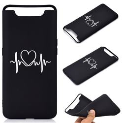 Heart Radio Wave Chalk Drawing Matte Black TPU Phone Cover for Samsung Galaxy A80 A90