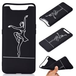 Dancer Chalk Drawing Matte Black TPU Phone Cover for Samsung Galaxy A80 A90