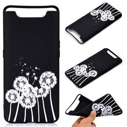 Dandelion Chalk Drawing Matte Black TPU Phone Cover for Samsung Galaxy A80 A90