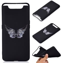 Wings Chalk Drawing Matte Black TPU Phone Cover for Samsung Galaxy A80 A90