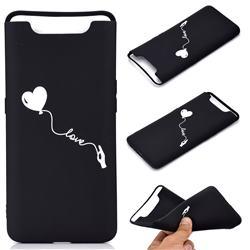 Heart Balloon Chalk Drawing Matte Black TPU Phone Cover for Samsung Galaxy A80 A90
