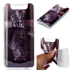 Cat and Tiger Soft TPU Cell Phone Back Cover for Samsung Galaxy A80 A90
