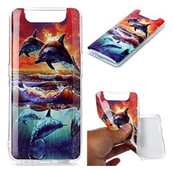 Flying Dolphin Soft TPU Cell Phone Back Cover for Samsung Galaxy A80 A90