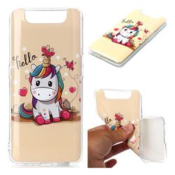 Hello Unicorn Soft TPU Cell Phone Back Cover for Samsung Galaxy A80 A90
