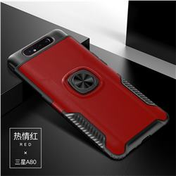 Knight Armor Anti Drop PC + Silicone Invisible Ring Holder Phone Cover for Samsung Galaxy A80 A90 - Red