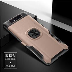 Knight Armor Anti Drop PC + Silicone Invisible Ring Holder Phone Cover for Samsung Galaxy A80 A90 - Rose Gold
