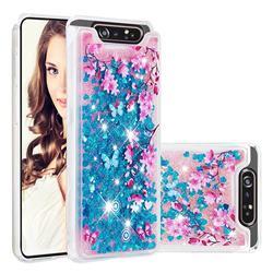 Blue Plum Blossom Dynamic Liquid Glitter Quicksand Soft TPU Case for Samsung Galaxy A80 A90