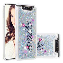 Smile Flower Dynamic Liquid Glitter Quicksand Soft TPU Case for Samsung Galaxy A80 A90