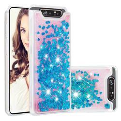 Dynamic Liquid Glitter Quicksand Sequins TPU Phone Case for Samsung Galaxy A80 A90 - Blue