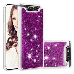 Dynamic Liquid Glitter Quicksand Sequins TPU Phone Case for Samsung Galaxy A80 A90 - Purple