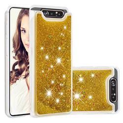 Dynamic Liquid Glitter Quicksand Sequins TPU Phone Case for Samsung Galaxy A80 A90 - Golden