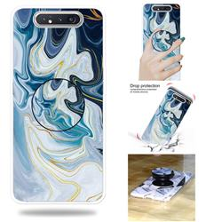Blue Gold Line Marble Pop Stand Holder Varnish Phone Cover for Samsung Galaxy A80 A90