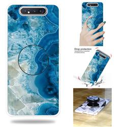Sea Blue Marble Pop Stand Holder Varnish Phone Cover for Samsung Galaxy A80 A90