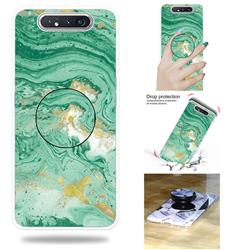 Dark Green Marble Pop Stand Holder Varnish Phone Cover for Samsung Galaxy A80 A90