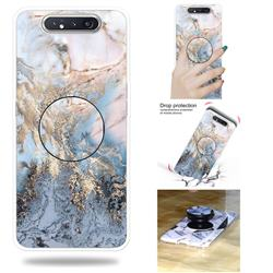 Golden Gray Marble Pop Stand Holder Varnish Phone Cover for Samsung Galaxy A80 A90