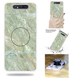 Light Green Marble Pop Stand Holder Varnish Phone Cover for Samsung Galaxy A80 A90
