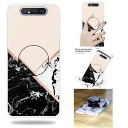 Black White Marble Pop Stand Holder Varnish Phone Cover for Samsung Galaxy A80 A90