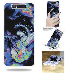 Black Purple Marble Pop Stand Holder Varnish Phone Cover for Samsung Galaxy A80 A90