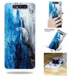 Dark Blue Marble Pop Stand Holder Varnish Phone Cover for Samsung Galaxy A80 A90