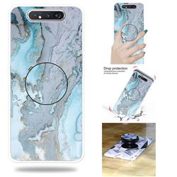 Silver Blue Marble Pop Stand Holder Varnish Phone Cover for Samsung Galaxy A80 A90