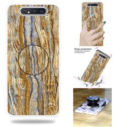 Brown Golden Marble Pop Stand Holder Varnish Phone Cover for Samsung Galaxy A80 A90