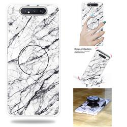 White Marble Pop Stand Holder Varnish Phone Cover for Samsung Galaxy A80 A90