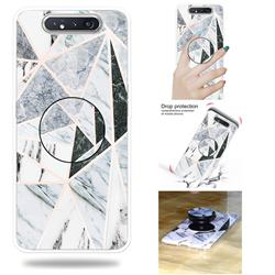 Triangle Marble Pop Stand Holder Varnish Phone Cover for Samsung Galaxy A80 A90