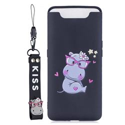 Black Flower Hippo Soft Kiss Candy Hand Strap Silicone Case for Samsung Galaxy A80 A90