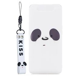 White Feather Panda Soft Kiss Candy Hand Strap Silicone Case for Samsung Galaxy A80 A90