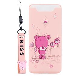 Pink Flower Bear Soft Kiss Candy Hand Strap Silicone Case for Samsung Galaxy A80 A90