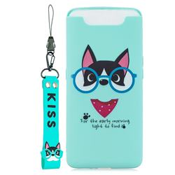Green Glasses Dog Soft Kiss Candy Hand Strap Silicone Case for Samsung Galaxy A80 A90