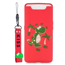 Red Dinosaur Soft Kiss Candy Hand Strap Silicone Case for Samsung Galaxy A80 A90