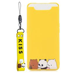 Yellow Bear Family Soft Kiss Candy Hand Strap Silicone Case for Samsung Galaxy A80 A90