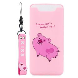 Pink Cute Pig Soft Kiss Candy Hand Strap Silicone Case for Samsung Galaxy A80 A90