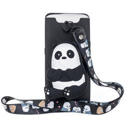 Cute Panda Neck Lanyard Zipper Wallet Silicone Case for Samsung Galaxy A80 A90