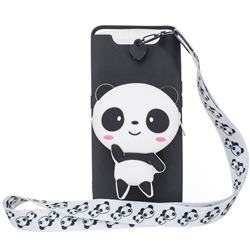 White Panda Neck Lanyard Zipper Wallet Silicone Case for Samsung Galaxy A80 A90