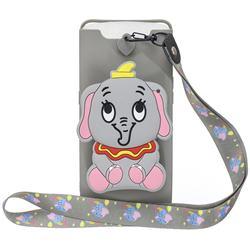 Gray Elephant Neck Lanyard Zipper Wallet Silicone Case for Samsung Galaxy A80 A90