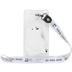 White Polar Bear Neck Lanyard Zipper Wallet Silicone Case for Samsung Galaxy A80 A90