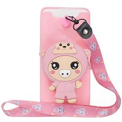 Pink Pig Neck Lanyard Zipper Wallet Silicone Case for Samsung Galaxy A80 A90