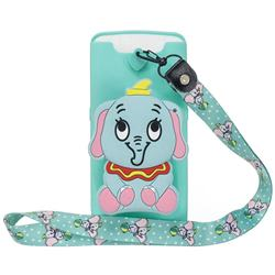 Blue Elephant Neck Lanyard Zipper Wallet Silicone Case for Samsung Galaxy A80 A90