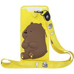 Yellow Bear Neck Lanyard Zipper Wallet Silicone Case for Samsung Galaxy A80 A90