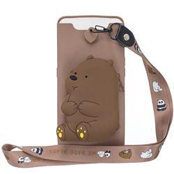 Brown Bear Neck Lanyard Zipper Wallet Silicone Case for Samsung Galaxy A80 A90