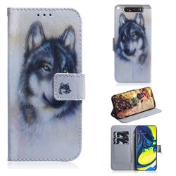 Snow Wolf PU Leather Wallet Case for Samsung Galaxy A80 A90