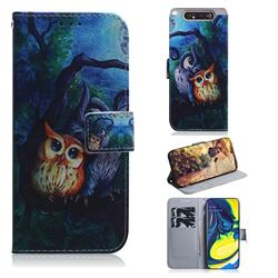 Oil Painting Owl PU Leather Wallet Case for Samsung Galaxy A80 A90