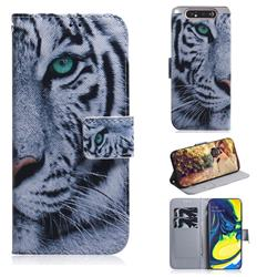 White Tiger PU Leather Wallet Case for Samsung Galaxy A80 A90