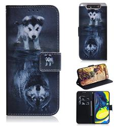 Wolf and Dog PU Leather Wallet Case for Samsung Galaxy A80 A90
