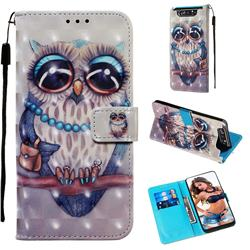 Sweet Gray Owl 3D Painted Leather Wallet Case for Samsung Galaxy A80 A90