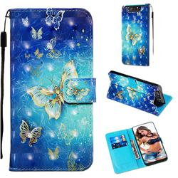 Gold Butterfly 3D Painted Leather Wallet Case for Samsung Galaxy A80 A90