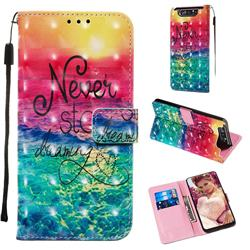 Colorful Dream Catcher 3D Painted Leather Wallet Case for Samsung Galaxy A80 A90