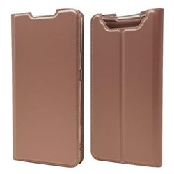 Ultra Slim Card Magnetic Automatic Suction Leather Wallet Case for Samsung Galaxy A80 A90 - Rose Gold